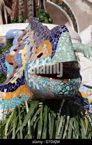 Lizard sculpture at Parc Guell, Barcelona, Spain - Stock Photo