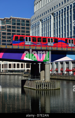 Docklands Light Railway, West India Dock, Canary Wharf, London E14, United Kingdom - Stock Photo