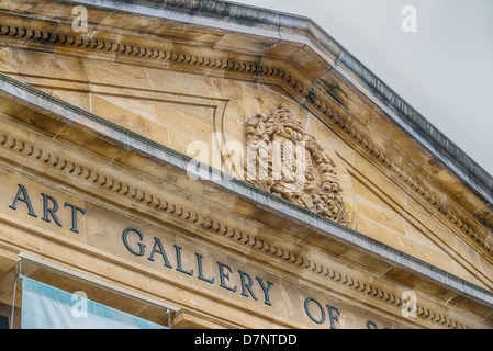 Exterior architectural detail of the ornate Art Gallery of South Australia. - Stock Photo