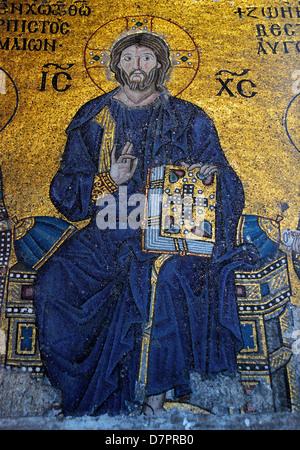 Orthodox mosaic in Hagia Sophia, Istanbul, Turkey - Stock Photo