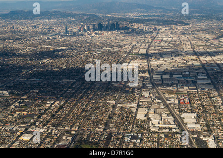 Aerial view of downtown Los Angeles. - Stock Photo