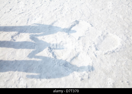 Shadows of Family on the Snow - Stock Photo
