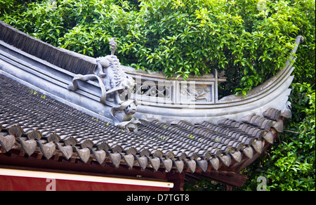 Detail on the roof top, Yu Yuan Gardens, Shanghai, China - Stock Photo