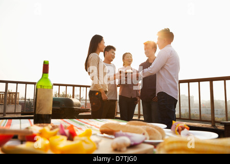 Sunset at Rooftop Barbecue - Stockfoto
