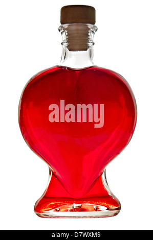 Bottle in the shape of a heart with red liquid isolated on white background. - Stockfoto