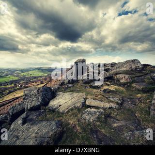 Curbar Edge, Derbyshire - Stock Photo
