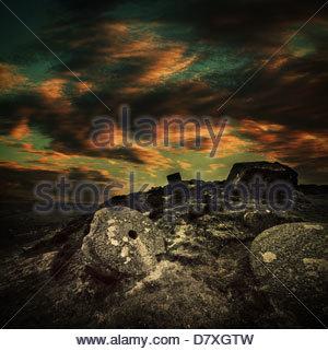 millstone curbar edge derbyshire - Stock Photo