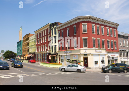 Downtown Plattsburgh, New York, USA - Stock Photo