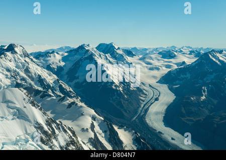 Aerial of Tasman Glacier, Southern Alps, New Zealand - Stock Photo