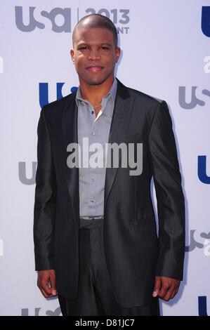 New York, NY, USA. May 16, 2013. Sharif Atkins at arrivals for USA Network 2013 Upfront Event, Pier 36 - Basketball - Stock Photo