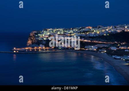 Italy Puglia Gargano National Park Peschici by night (Adriatic Sea - Stock Photo