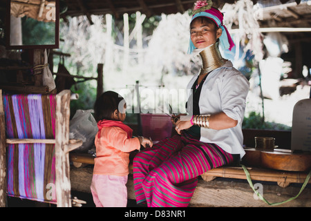 The Karen, Long Neck, mother and her child, Hill Tribe, Chaing Mai, Thailand. - Stock Photo