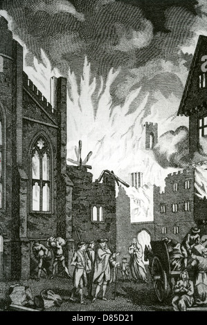GREAT FIRE OF LONDON September 1666 in an 18th century engraving - Stockfoto