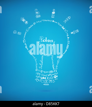 Vector light bulb created by many hand drawn business sketch and doodles design elements on blue background. - Stock Photo