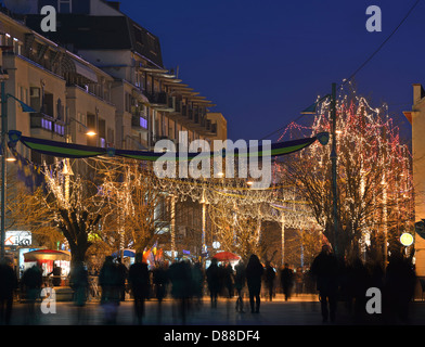 Mother Theresa Boulevard decorated during 5th Independece Day celebrations on17 February 2013, Pristina, Kosovo - Stock Photo