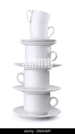Stack of coffee and tea cups isolated on white - Stock Photo