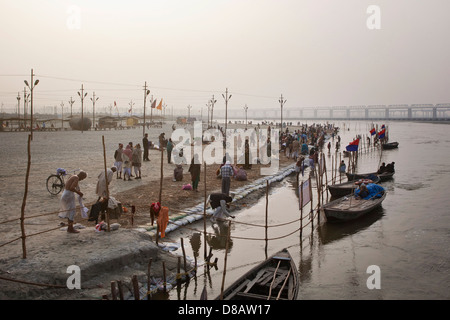 People bathing in the Ganges River at the Kumbh Mela 2013 in Allahabad, India - Stock Photo