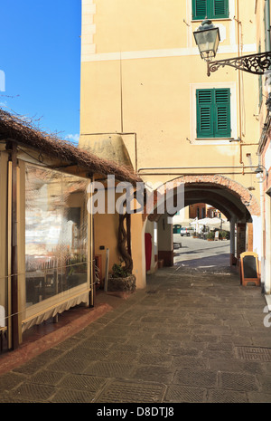 typical street in Camogli, famous small town in Liguria, Italy - Stock Photo