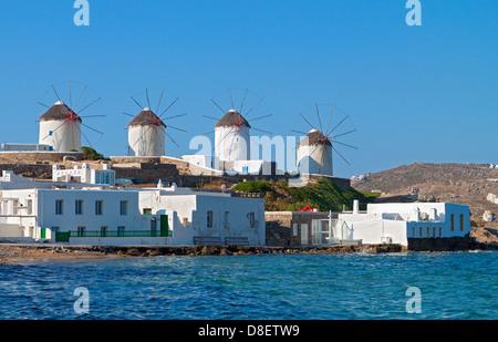 The windmills of Mykonos island in Greece. - Stock Photo