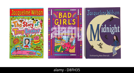 The children's novels by Jacqueline Wilson: The Story of Tracy Beaker, Bad Girls and Midnight. - Stock Photo