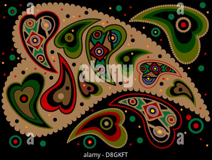 Colored paisley on a black background - Stock Photo