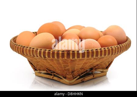Eggs in Basket - Stockfoto