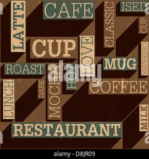 Coffee themed seamless retro background, - Stock Photo