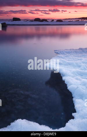 Winter landscape at Larkollen in Rygge kommune, Østfold fylke, Norway. - Stock Photo
