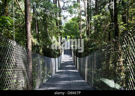 Suspension bridge at Arenal Observatory Lodge, Arenal Volcano, La Fortuna, Costa Rica - Stockfoto