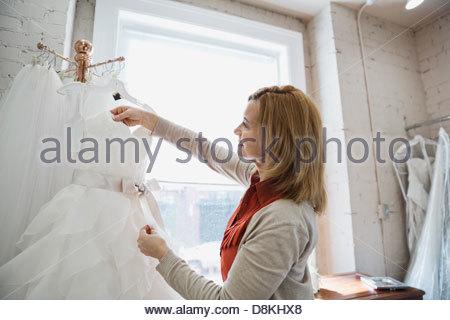 Woman shopping at bridal store - Stock Photo