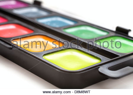 watercolor paints on a white background - Stock Photo