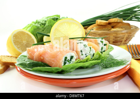 Smoked salmon roulade stock photo royalty free image for Smoked salmon roulade canape