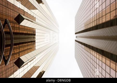 Copper-colored facades, Sheikh Zayed Road, Dubai, UAE - Stock Photo