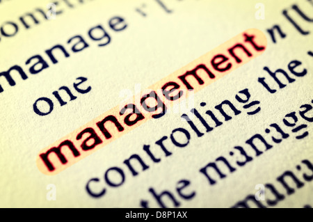 The word Management highlighted in red. Selective focus in the middle of word - Stock Photo