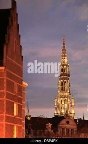 Belgium, Brussels, City Hall, tower, night, - Stock Photo