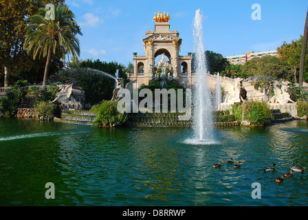 View of fountain in Parc de la Ciutadella, Barcelona - Stock Photo