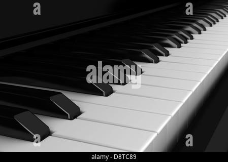 close-up piano keyboard - Stock Photo