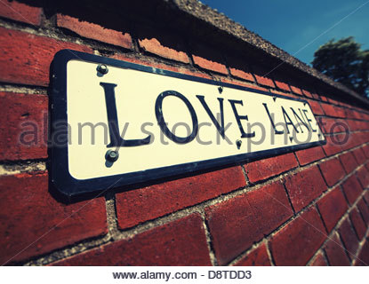 love lane sign on wall - Stock Photo