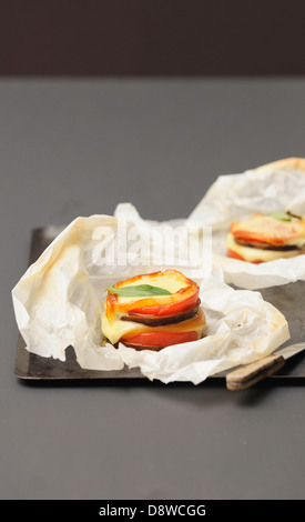 Vegetable Mille-feuille cooked in wax paper - Stock Photo