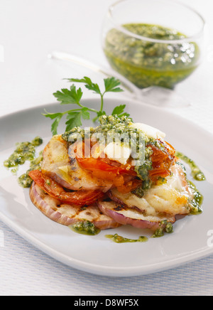 White eggplant,tomato,goat's cheese and pesto mille-feuille - Stock Photo