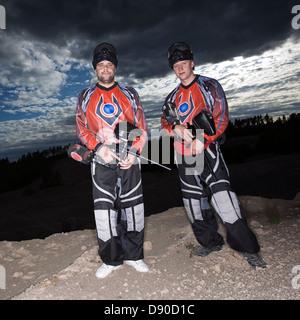 Men playing paintball, Sweden. - Stockfoto