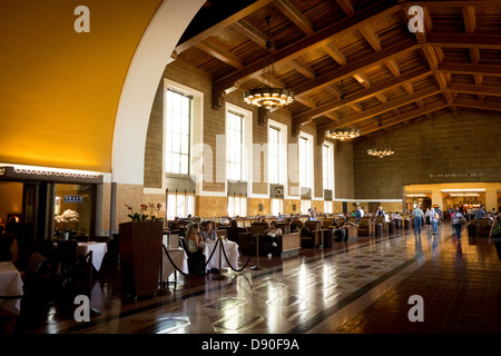 Interior hall of Union Station in downtown Los Angeles Southern California USA - Stock Photo
