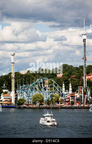 A ferry outside Grona Lund, an amusement park in Stockholm, Sweden. - Stock Photo