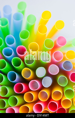 Studio shot of colorful drinking straws - Stock Photo