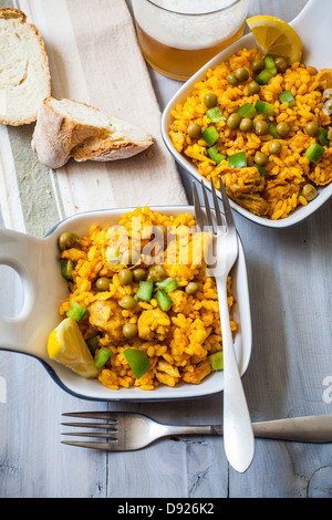 two bowls with spanish rice paella style - Stock Photo
