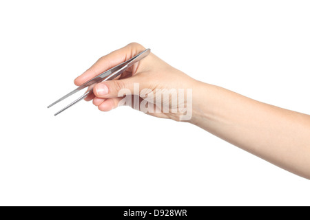 Woman hand using a small tweezers isolated on a white background - Stock Photo