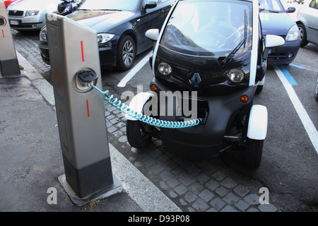 a renault twizy battery car being charged within faro algarve stock photo royalty free image. Black Bedroom Furniture Sets. Home Design Ideas
