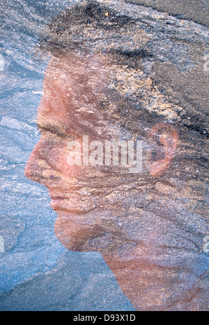 Double exposure image of face in profile. - Stock Photo