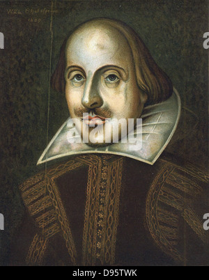 William Shakespeare (1564-1616) English playwright. Anonymous portrait in oils dated 1609. This is the portrait - Stock Photo