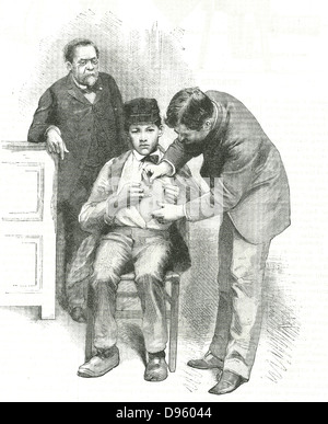Louis Pasteur (1822-1895) French chemist, looking on as his assistant inoculates Joseph Meister, a shepherd boy - Stock Photo